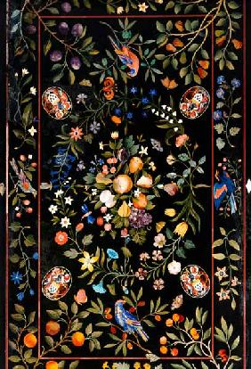 A Florentine Pietra Dura Table Top Inlaid With Various Marbles And Lapis Lazuli Centred By A Display
