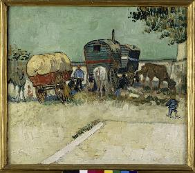 Van Gogh / Gypsy camp, horse-drawn wag.