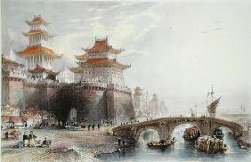 Western Gate of Peking, c.1850 (colour litho)