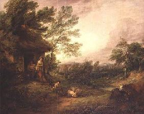 Cottage Door with Girl and Pigs