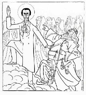 Caricature of Rudolf Steiner, illustration from Simplicissimus, published April 20 1925 (litho)