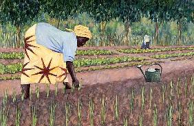 Planting Onions, 2005 (oil on canvas)