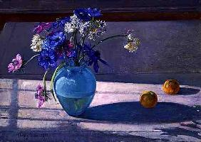 Anemones and a Blue Glass Vase, 1994 (oil on canvas)