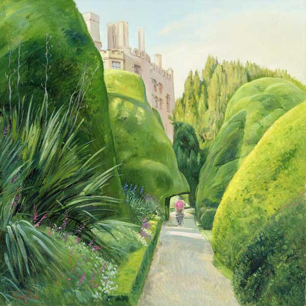 The Topiary Path, Powis Castle (oil on canvas)