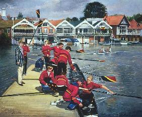 Towards the Boathouses, Henley, 1997 (oil on canvas)