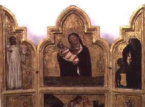 Madonna and Child with St. Benedict and St. Jerome, top half of triptych (see also 78652)