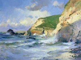 Cliffs at St. Agnes (oil on canvas)