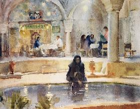 In the Teahouse, Kerman (w/c on paper)