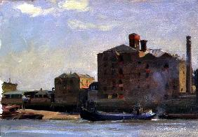 Against the Tide, Rotherhithe, 1992 (oil on canvas)
