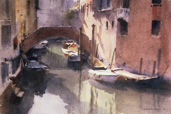 A Quiet Canal in Venice, 1990 (w/c on paper)