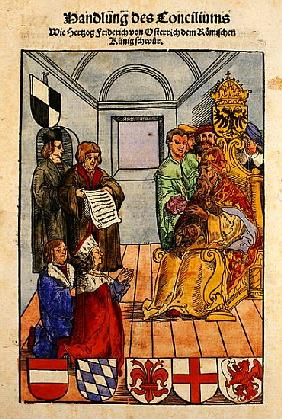 Frederick IV, Duke of Austria, declaring his fealty to the Emperor at the Council of Constance, from