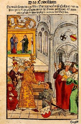 Henry of Ulm is awarded his knighthood the Emperor at the Council of Constance, from ''Chronik des K