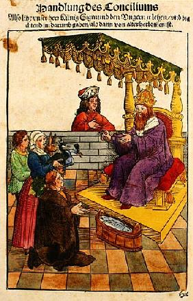 Sigismund performs his feudal duties at the Council of Constance, from ''Chronik des Konzils von Kon