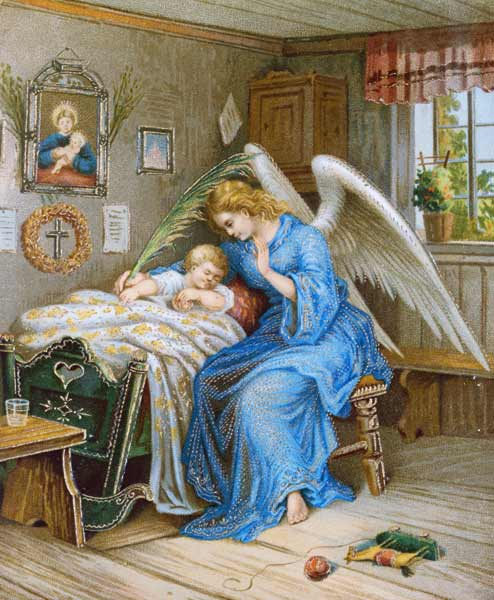 Guardian Angel With A Sleeping Child Um 1900 Anonym As Art Print