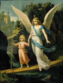 Guardian Angel escorts a Child over a Bridge