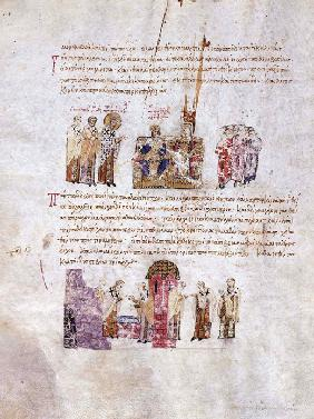 "The Council of Constantinople (""Triumph of Orthodoxy"") in 843 (Miniature from the Madrid Skylitzes)"