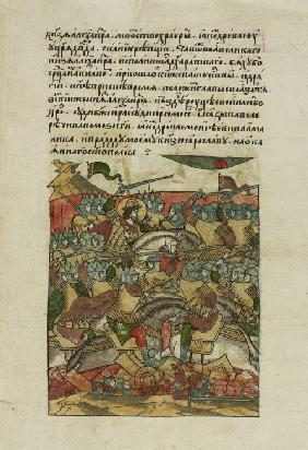 The Battle of the Ice on April 5, 1242 at Lake Peipus (From the Illuminated Compiled Chronicle)