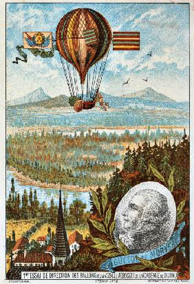 "First attempt to direct a balloon by Guyton de Morveau, 1784 (From the Series ""The Dream of Flight"")"