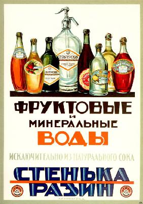 "Fruit and mineral waters ""Stenka Razin""  (Advertising Poster)"