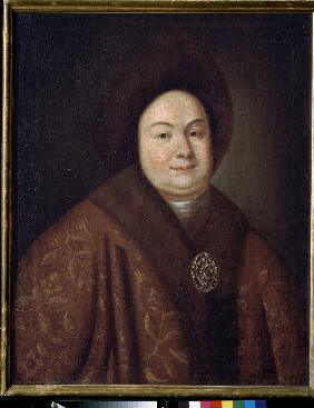 Portrait of Tsarina Evdokiya Feodorovna Lopukhina (1669-1731), the wife of tsar Peter I of Russia