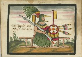 Xiuhtecuhtli, Aztec god of fire, day and heat. From the Ramírez Codex (The Tovar Codex)