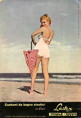Marilyn Monroe posing for the advertising of Pirelli swimwear