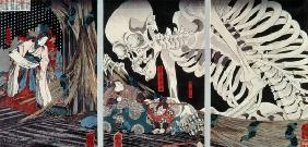 Mitsukini Defying the Skeleton Spectre, c.1845 (hand coloured woodcut print)