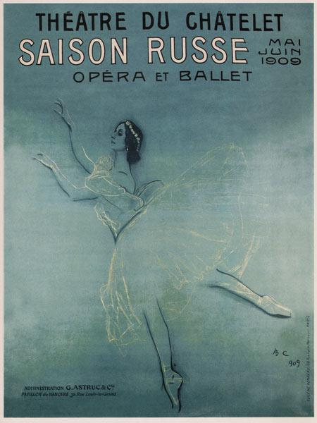 Advertising Poster for the Ballet dancer Anna Pavlova in the ballet Les sylphides by F. Chopin