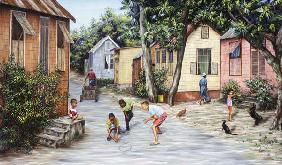 Village Life (oil on canvas)