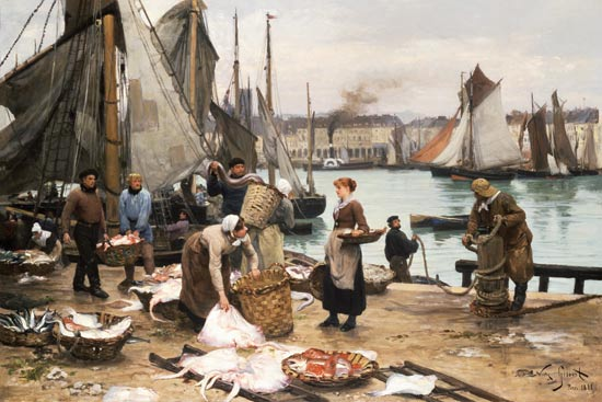 Image: Victor Gabriel Gilbert - Fisherman when unloading the catch.