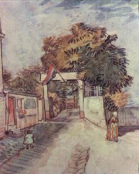 French street scene with access to a vantage point