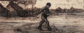 The Sower, from a Series of Four Drawings Symbolizing the Four Seasons (pencil, pen and brown