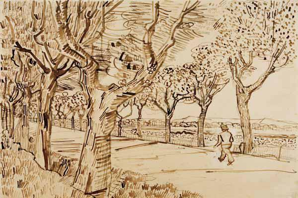 V.v.Gogh, Road to Tarascon /Drawing/1888