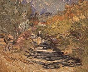 A Road in St. Remy with Female Figures