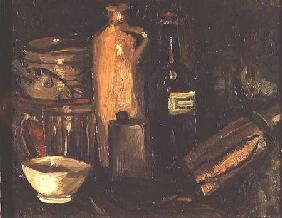 Still life with pots, bottles and flasks