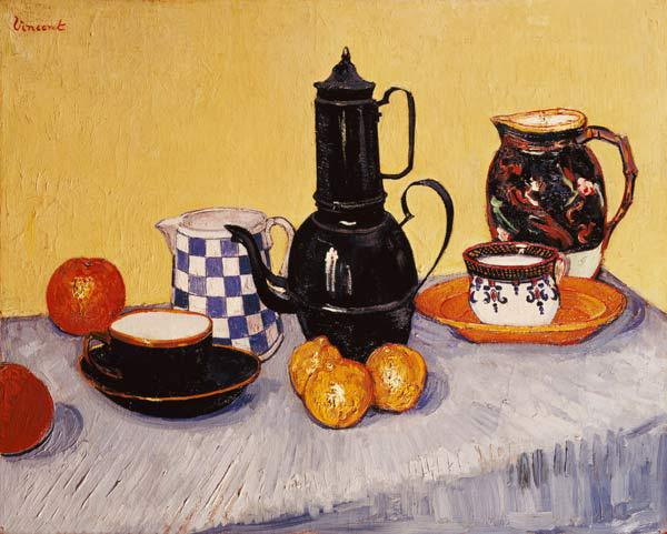 Still Life with Blue Enamel Coffeepot, Earthenware and Fruit
