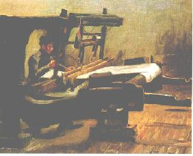 Weaver at the Loom, Facing Right