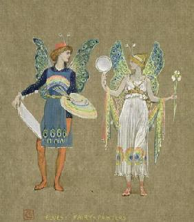 Elves and Fairy Painters, from 'The Snowman' 1899 (w/c on paper)