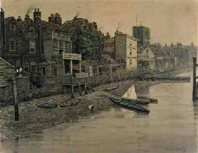 A Thames View Showing the Adam and Eve Tavern in Chelsea