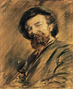 Self-portrait with wine-glass