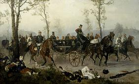 Napoleon III. and Bismarck on the way to Paris.