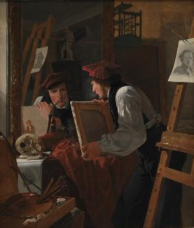 A Young Artist Examining a Sketch in a Mirror