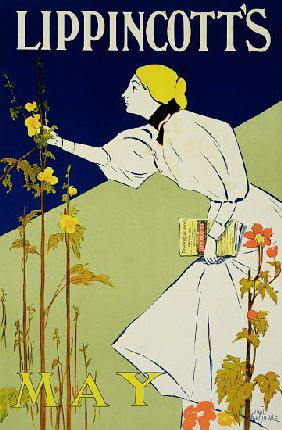 Reproduction of a poster advertising 'Lippincott's Magazine, May Issue', published in Philadelphia