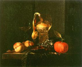 Still life with a silbener bowl, glasses and fruits