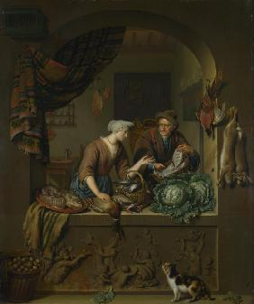 A Woman and a Fish-pedlar in a Kitchen
