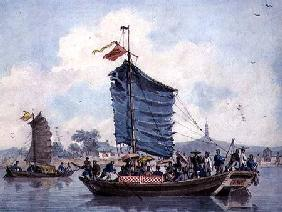 Chinese river scene with Junks under sail