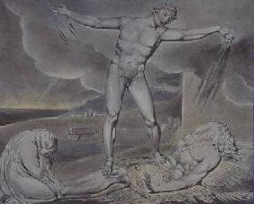 Illustrations of the Book of Job; Satan smiting Job with Sore Boils, 1825 (pen, w/c and