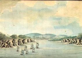 'Sirius' and convoy, the Supply and Agent's Division going into Botany Bay