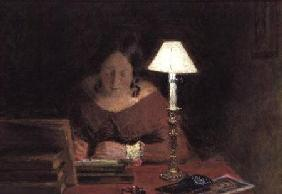 Girl Writing by Lamplight