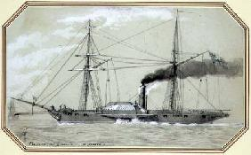 A paddle driven steam warship (pencil and wash, heightened with white)